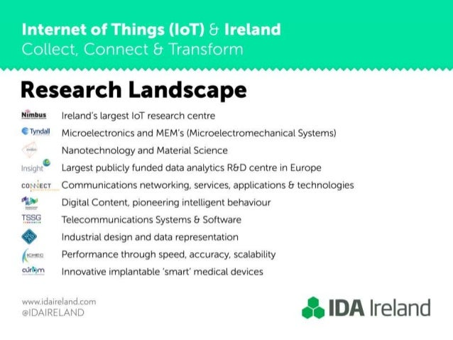 Internet of Things (IoT) 8 Ireland  Collect,  Connect 8 Transform     Research Landscape  _-__  _=_§ Ireland's largest IoT...