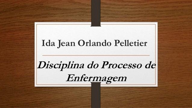 Ida Jean Orlando Pelletier  Disciplina do Processo de  Enfermagem