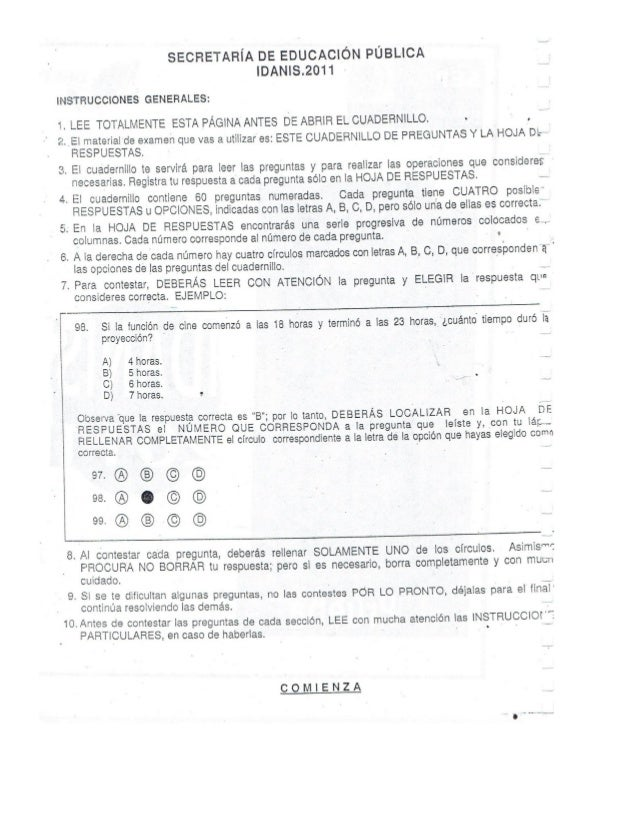 Examen para la secundaria 2016 idanis sep 2011 for Prueba docente 2016