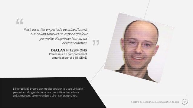 176 leçons de leadership en communication de crise www.idaos.com franckperrier@idaos.com DECLAN FITZSIMONS Professeur de c...