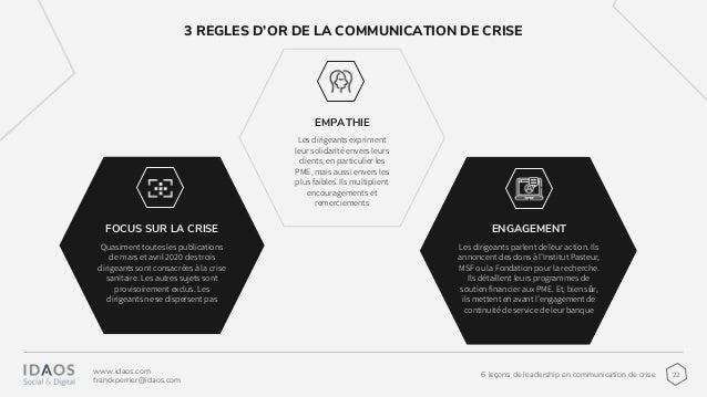 226 leçons de leadership en communication de crise www.idaos.com franckperrier@idaos.com 3 REGLES D'OR DE LA COMMUNICATION...