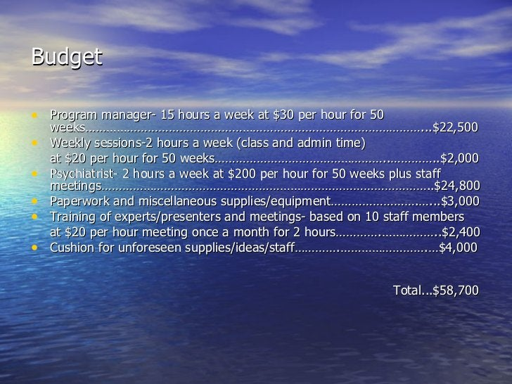 Budget <ul><li>Program manager- 15 hours a week at $30 per hour for 50 weeks……………………………………………………………………………………...$22,500 </l...