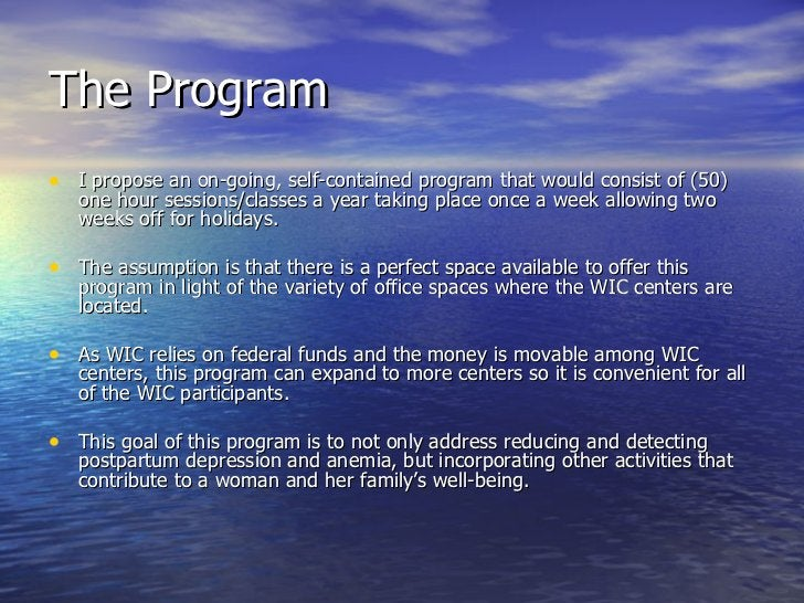 The Program <ul><li>I propose an on-going, self-contained program that would consist of (50) one hour sessions/classes a y...