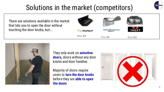 3 Solutions in the market (competitors) There are solutions available in the market that lets you to open the door without...