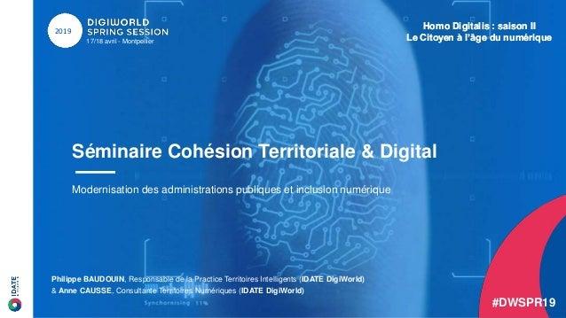 Homo Digitalis : saison II Le Citoyen à l'âge du numérique17/18 avril - Montpellier 2019 Séminaire Cohésion Territoriale &...