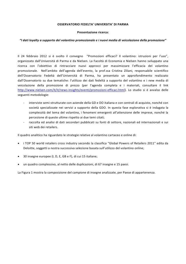 """OSSERVATORIO FEDELTA' UNIVERSITA' DI PARMA                                               Presentazione ricerca:    """"I dati..."""