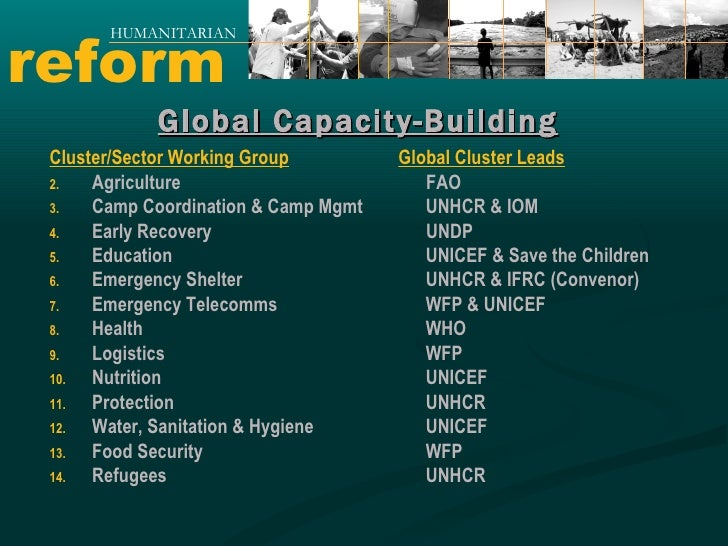 reform HUMANITARIAN <ul><li>Cluster/Sector Working Group </li></ul><ul><li>Agriculture </li></ul><ul><li>Camp Coordination...