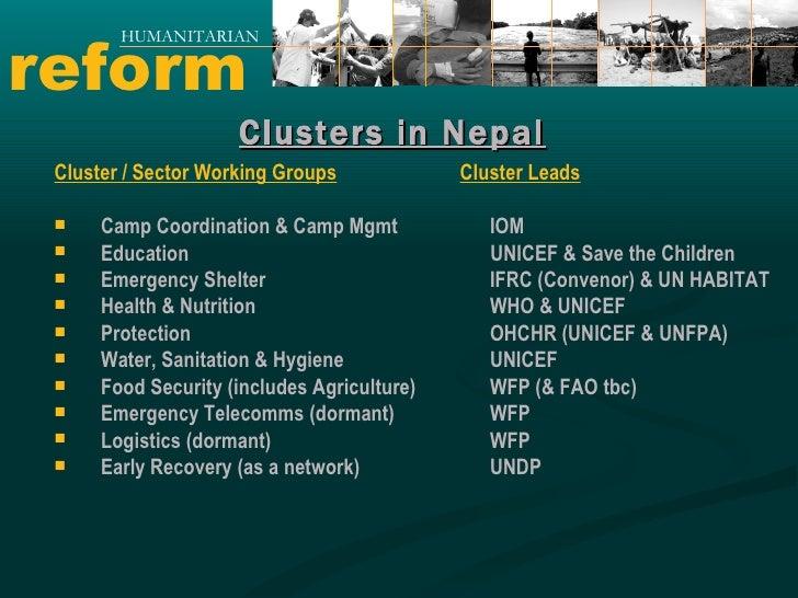 reform HUMANITARIAN <ul><li>Cluster / Sector Working Groups </li></ul><ul><li>Camp Coordination & Camp Mgmt </li></ul><ul>...
