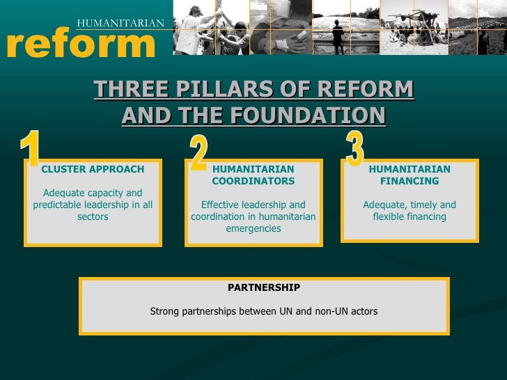 reform HUMANITARIAN THREE PILLARS OF REFORM AND THE FOUNDATION CLUSTER APPROACH Adequate capacity and predictable leadersh...