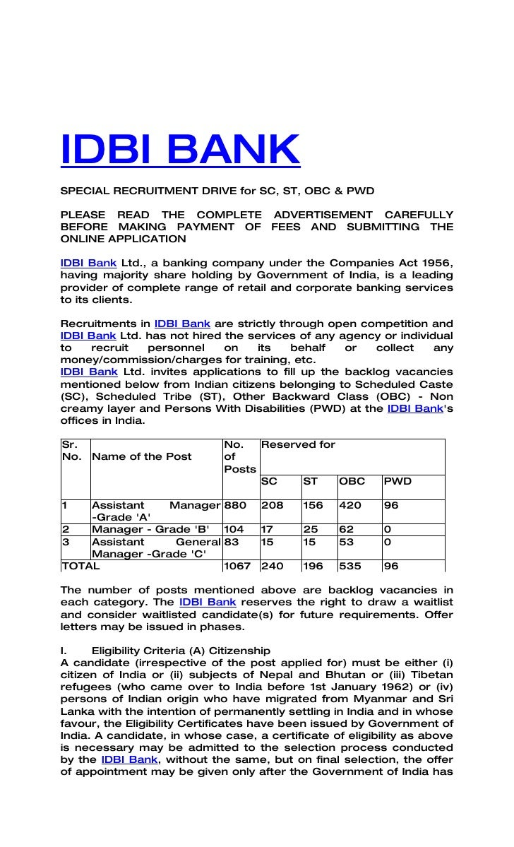 Idbi bank recruitment advt