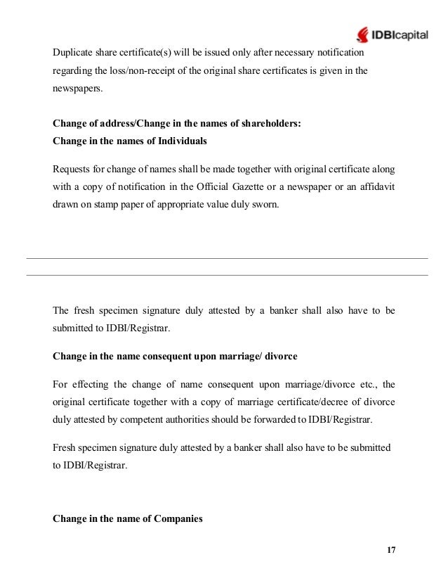 Idbi capital 16 17 duplicate share certificates yadclub Image collections