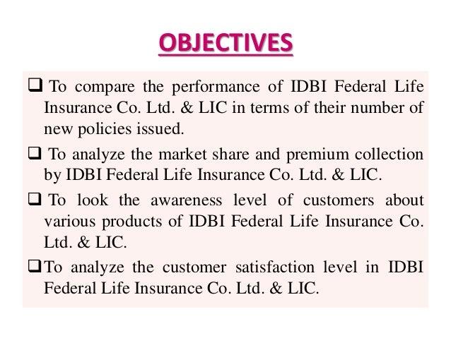 IDBI Federal Comparative study with LIC