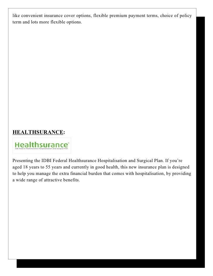 Idbi federal life insurance co ltd.
