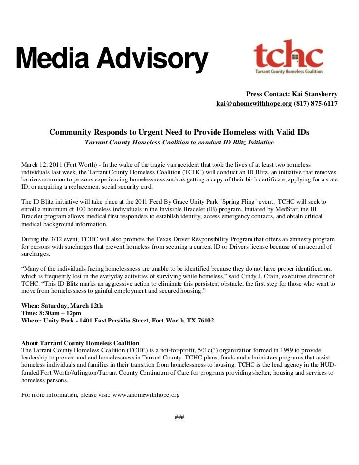 Id Blitz Media Advisory