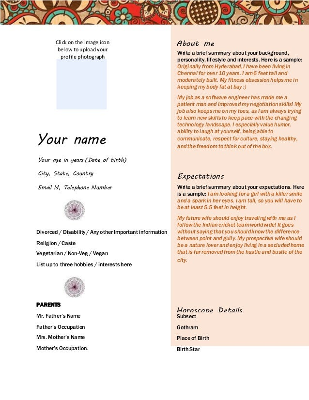 marriage biodata format for download your name your age in years date of birth city state - Matrimonial Resume Format