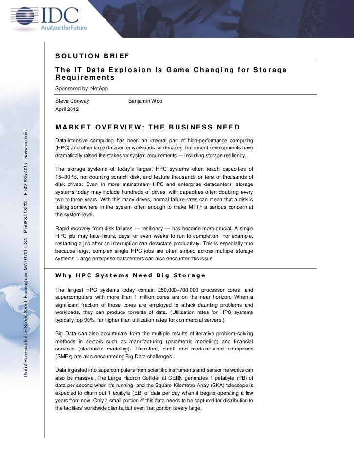 SOLUTION BRIEF                                                               The IT Data Explosion Is Game Changing for St...
