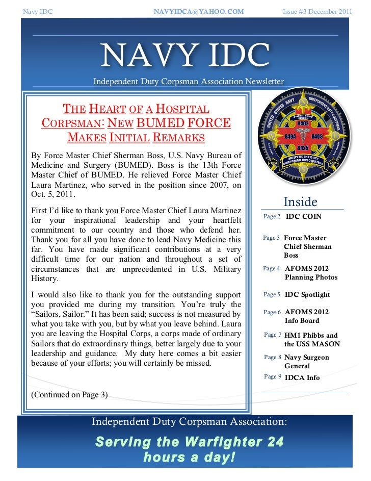 Navy IDC                               NAVYIDCA@YAHOO.COM                     Issue #3 December 2011                      ...