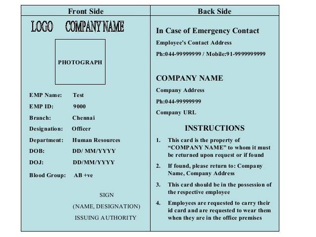 Company Id Card Format from image.slidesharecdn.com