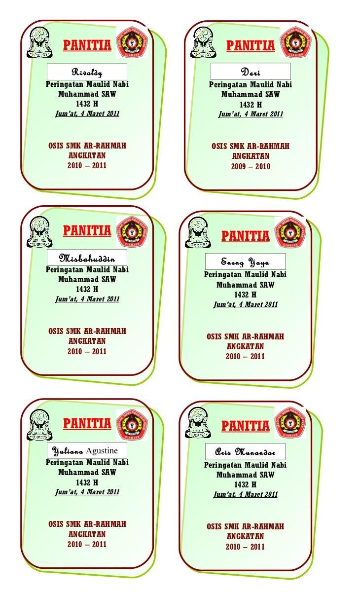 Contoh Id Card Panitia Osis - Contoh 43