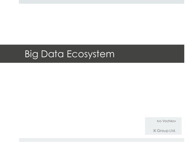 Big Data Ecosystem  Ivo Vachkov  Xi Group Ltd.