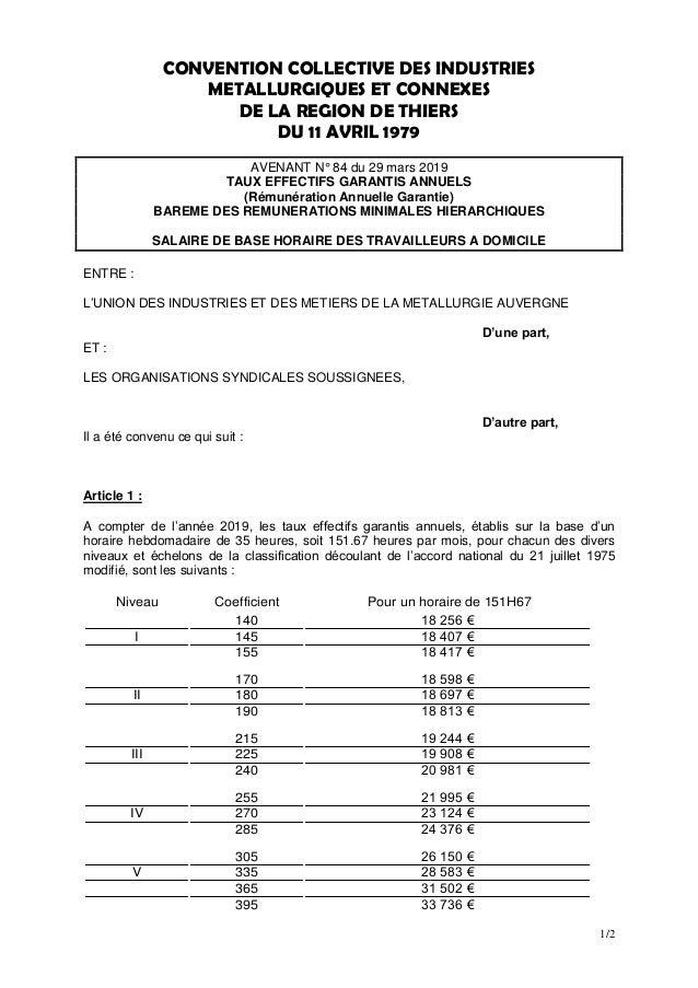 1/2 CONVENTION COLLECTIVE DES INDUSTRIES METALLURGIQUES ET CONNEXES DE LA REGION DE THIERS DU 11 AVRIL 1979 AVENANT N° 84 ...