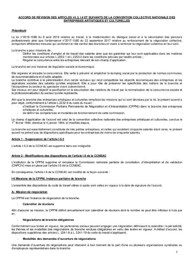 1 ACCORD DE RÉVISION DES ARTICLES I-5.3, I.6 ET SUIVANTS DE LA CONVENTION COLLECTIVE NATIONALE DES ENTREPRISES ARTISTIQUES...