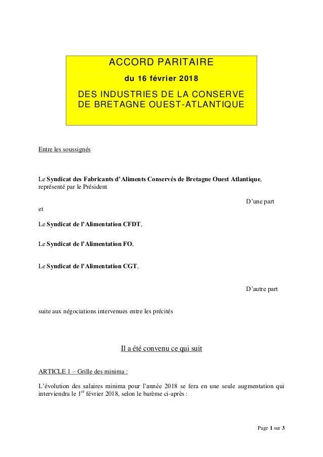 Page 1 sur 3 ACCORD PARITAIRE du 16 février 2018 DES INDUSTRIES DE LA CONSERVE DE BRETAGNE OUEST-ATLANTIQUE Entre les sous...