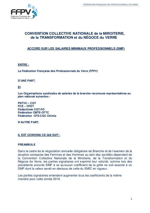 1 CONVENTION COLLECTIVE NATIONALE de la MIROITERIE, de la TRANSFORMATION et du NÉGOCE du VERRE ACCORD SUR LES SALAIRES MIN...