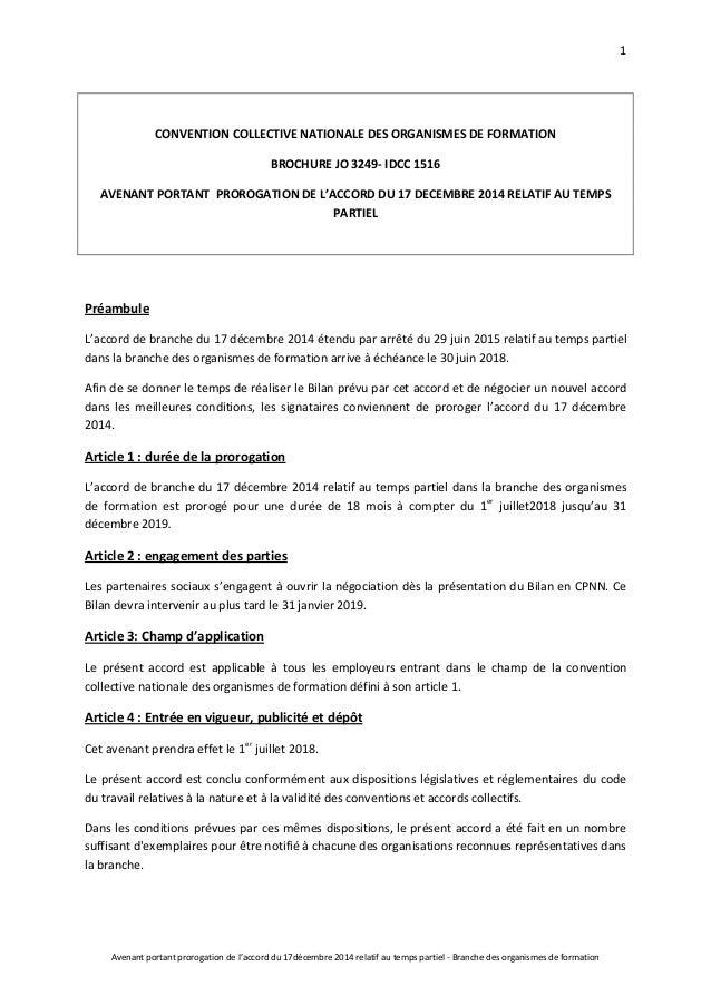 Idcc 1516 Avenant Prorogation Accord Temps Partiel