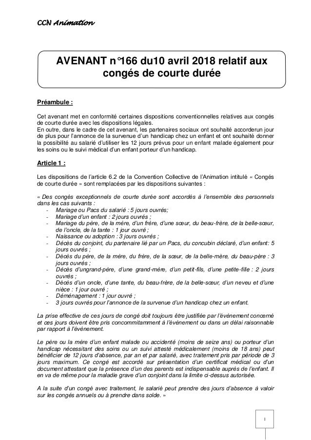 Idcc 1518 Avenant Conges Courte Duree