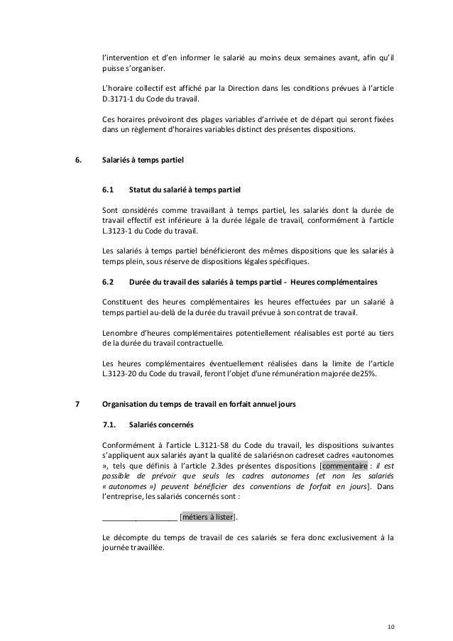 Idcc 1555 Accord Temps De Travail