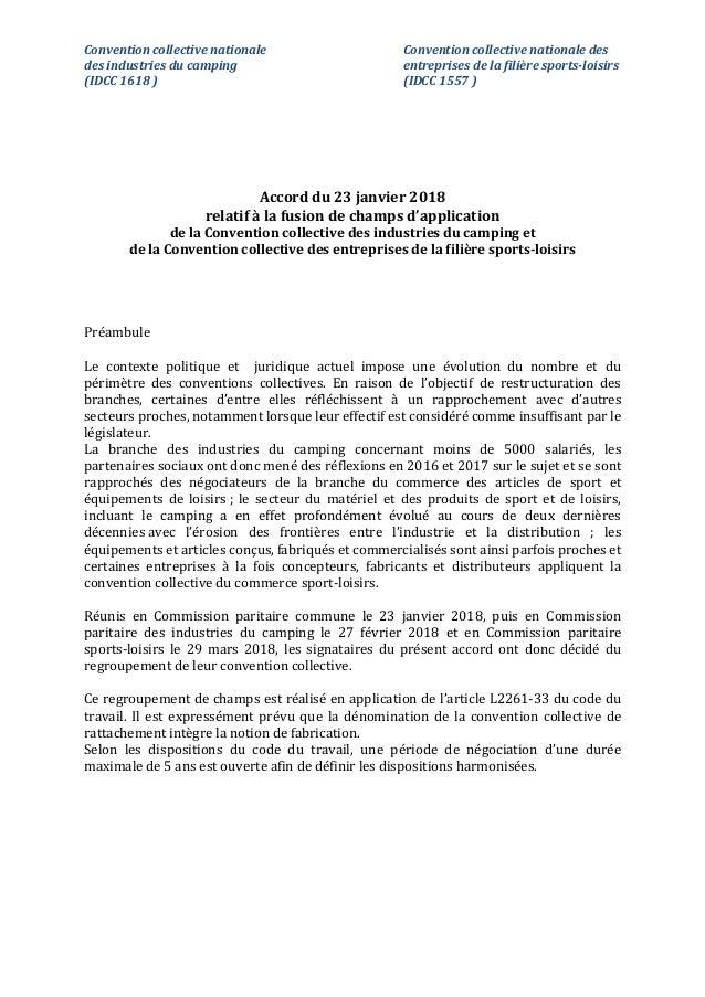 Convention collective nationale Convention collective nationale des des industries du camping entreprises de la filière sp...