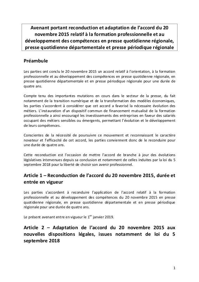 1 Avenant portant reconduction et adaptation de l'accord du 20 novembre 2015 relatif à la formation professionnelle et au ...