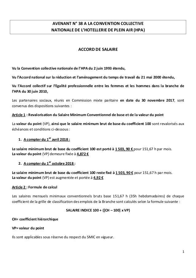 Idcc 1631 Avenant Salaires