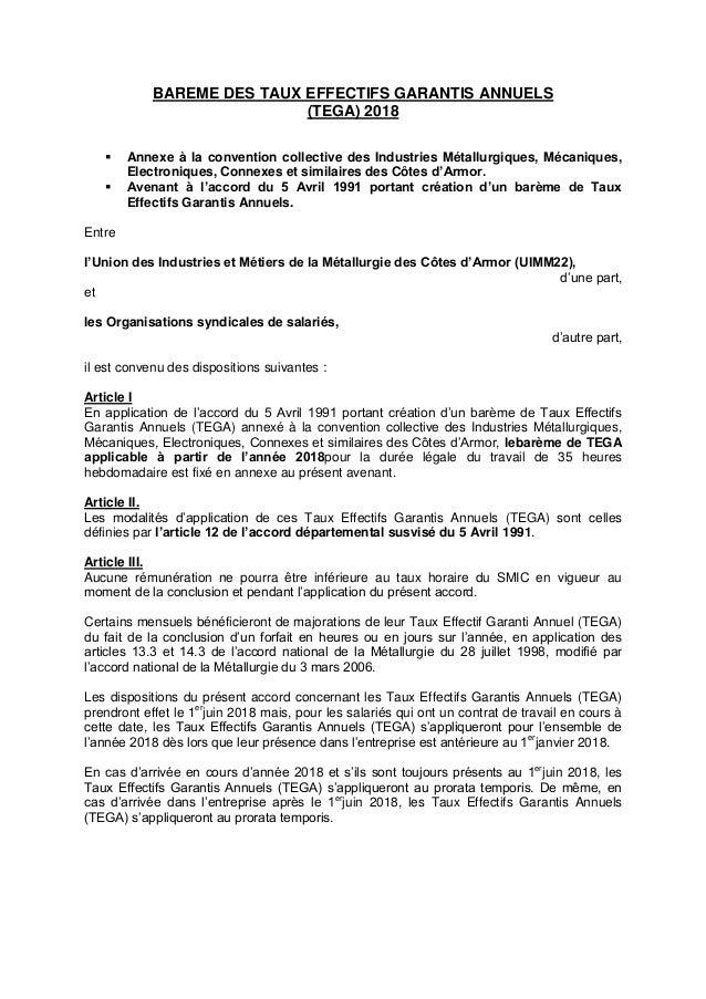 Idcc 1634 Avenant Salaires Tega 2018