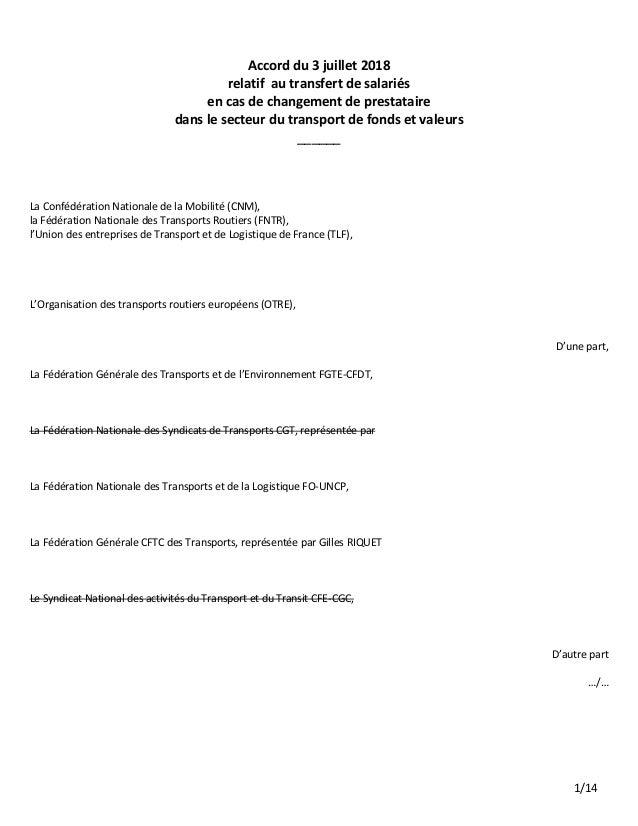 1/14 Accord du 3 juillet 2018 relatif au transfert de salariés en cas de changement de prestataire dans le secteur du tran...