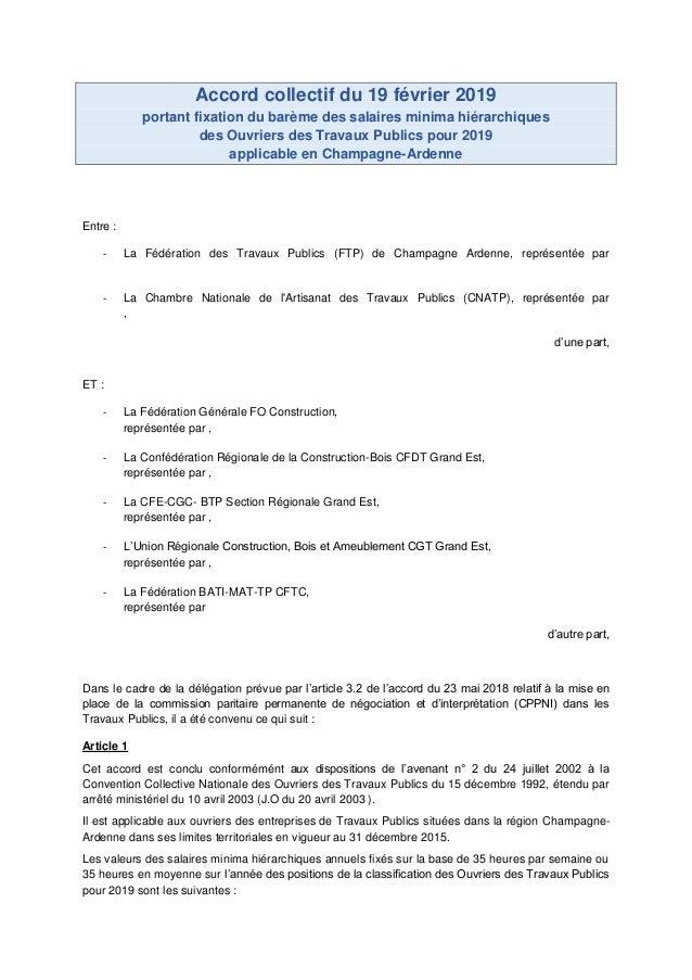 Accord collectif du 19 février 2019 portant fixation du barème des salaires minima hiérarchiques des Ouvriers des Travaux ...