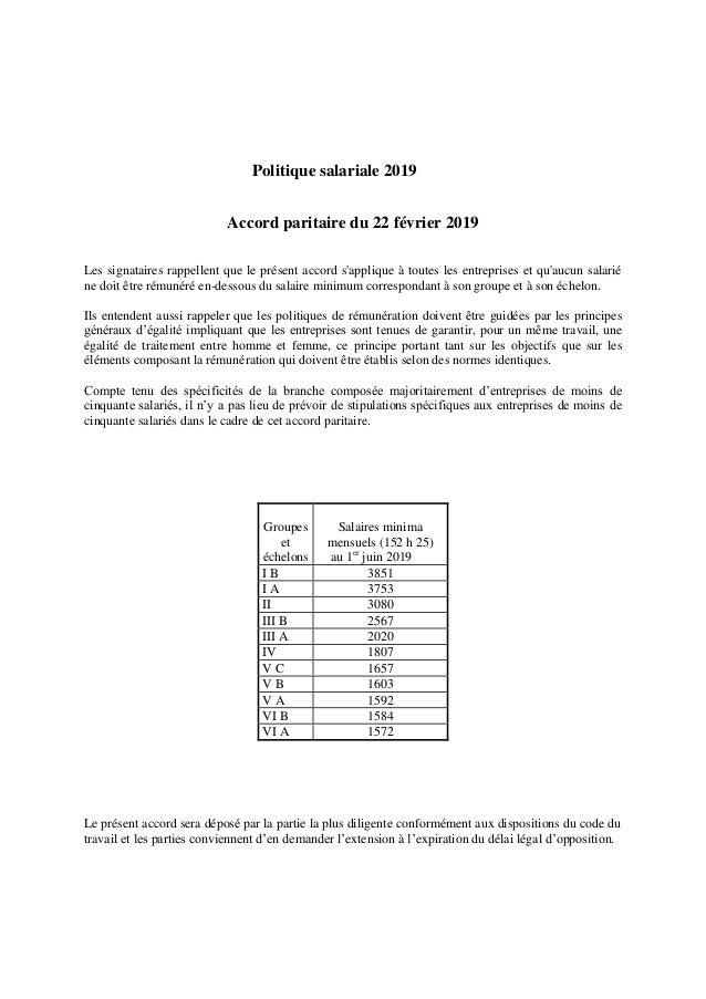 Politique salariale 2019 Accord paritaire du 22 février 2019 Les signataires rappellent que le présent accord s'applique à...