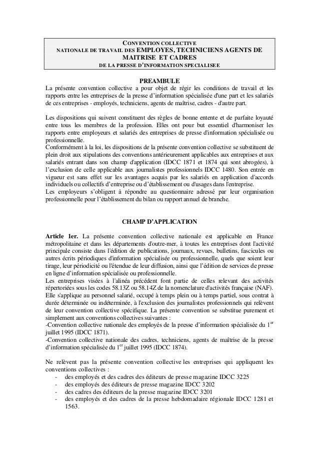 CONVENTION COLLECTIVE NATIONALE DE TRAVAIL DES EMPLOYES, TECHNICIENS AGENTS DE MAITRISE ET CADRES DE LA PRESSE D'INFORMATI...