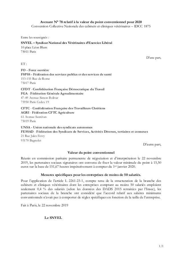 1/1 Avenant N° 78 relatif à la valeur du point conventionnel pour 2020 Convention Collective Nationale des cabinets et cli...