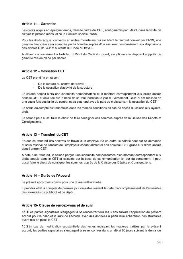 Idcc 1909 Avenant Compte Epargne Temps