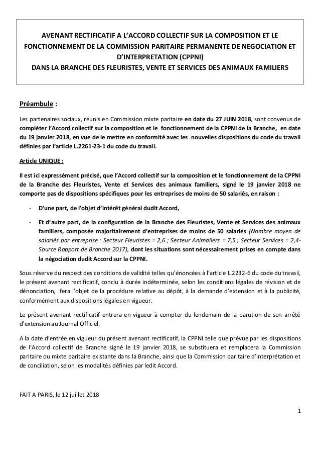 1 AVENANT RECTIFICATIF A L'ACCORD COLLECTIF SUR LA COMPOSITION ET LE FONCTIONNEMENT DE LA COMMISSION PARITAIRE PERMANENTE ...