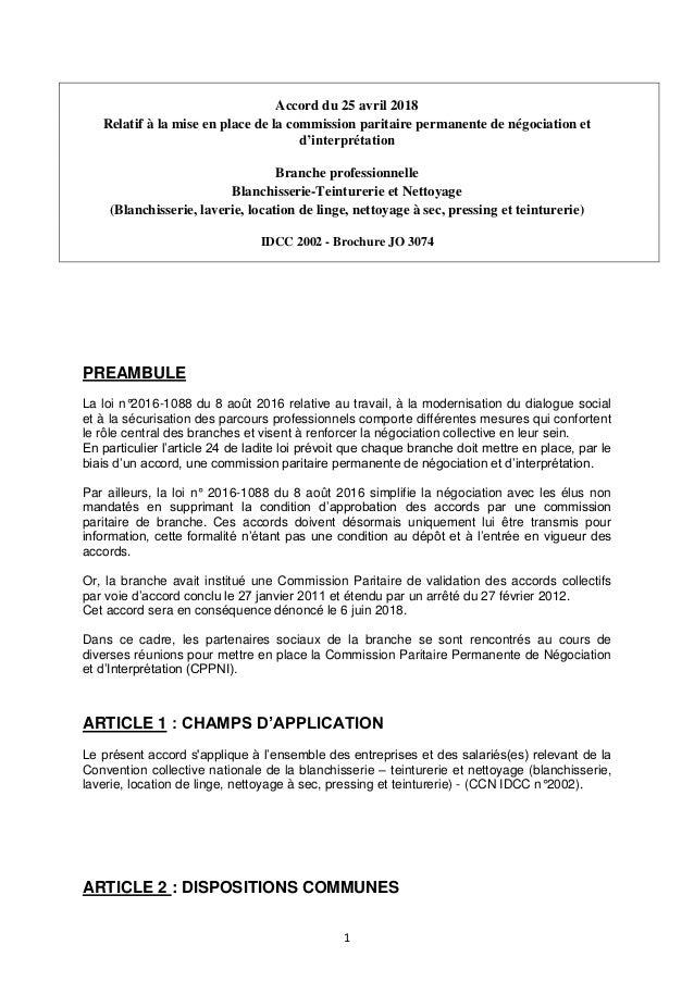 1 Accord du 25 avril 2018 Relatif à la mise en place de la commission paritaire permanente de négociation et d'interprétat...