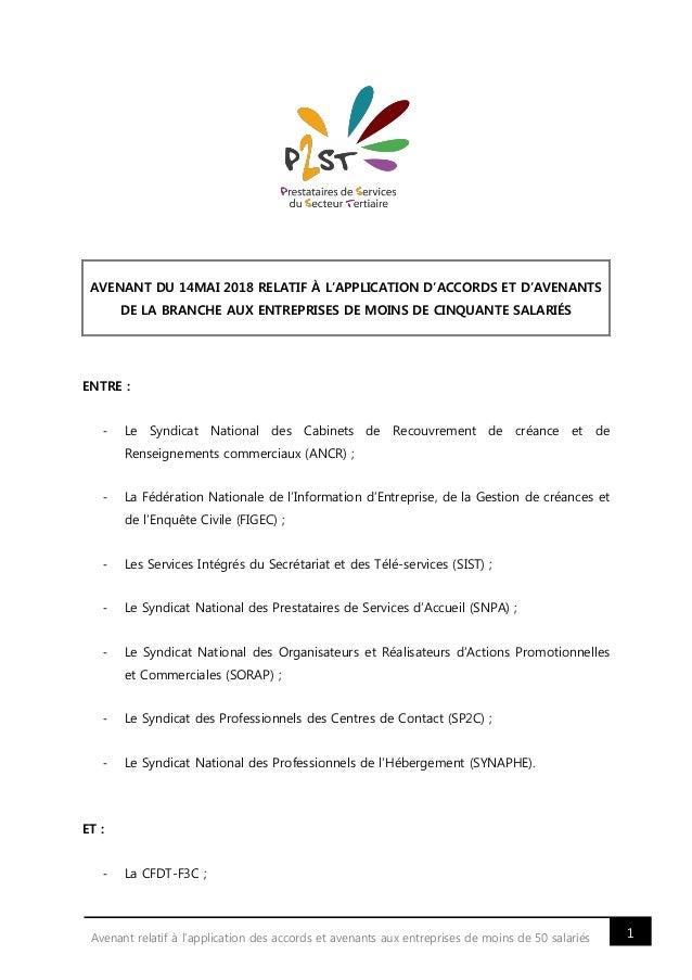 1Avenant relatif à l'application des accords et avenants aux entreprises de moins de 50 salariés AVENANT DU 14MAI 2018 REL...
