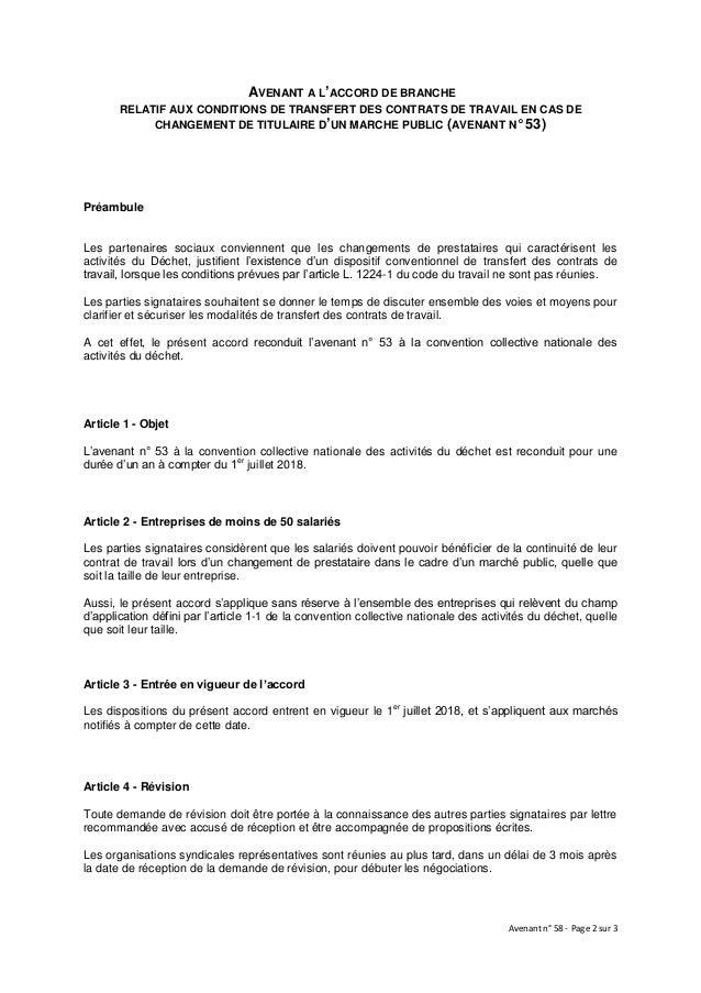 Idcc 2149 Avenant Transfert De Contrat De Travail