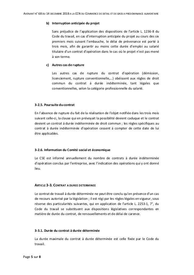 Idcc 2216 Avenant Cdd Contrat Temporaire