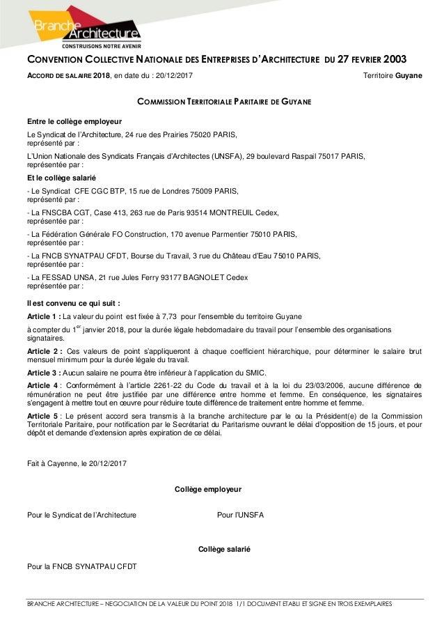 CONVENTION COLLECTIVE NATIONALE DES ENTREPRISES D'ARCHITECTURE DU 27 FEVRIER 2003 BRANCHE ARCHITECTURE – NEGOCIATION DE LA...