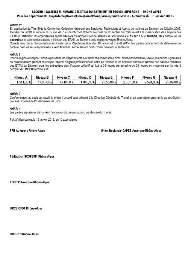 - ACCORD : SALAIRES MINIMAUX DES ETAM DU BATIMENT EN REGION AUVERGNE – RHONE-ALPES Pour les départements Ain/Ardèche/Drôme...