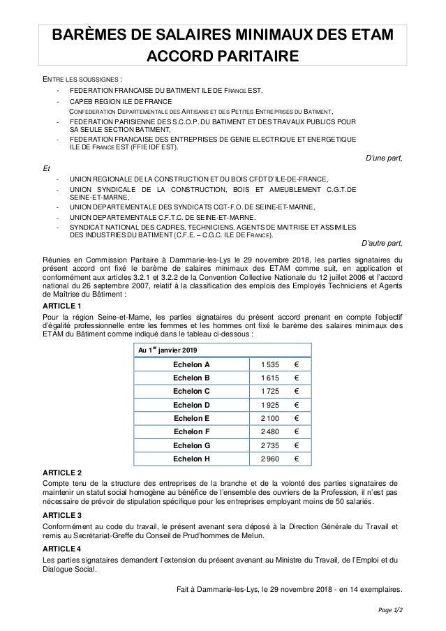 Page 1/2 BARÈMES DE SALAIRES MINIMAUX DES ETAM ACCORD PARITAIRE ENTRE LES SOUSSIGNES : - FEDERATION FRANCAISE DU BATIMENT ...
