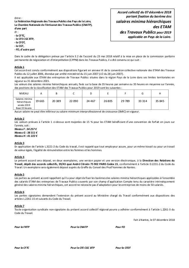 Entre : La Fédération Régionale des Travaux Publics des Pays de la Loire, La Chambre Nationale de l'Artisanat des Travaux ...